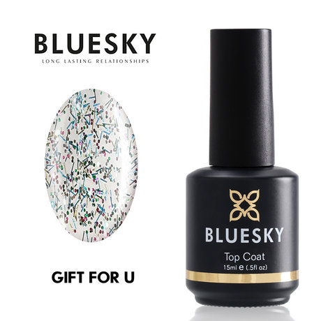 Tоп лак с частици BLUESKY GLITTLER GIFT FOR YOU NO WIPE TOP COAT 15ml