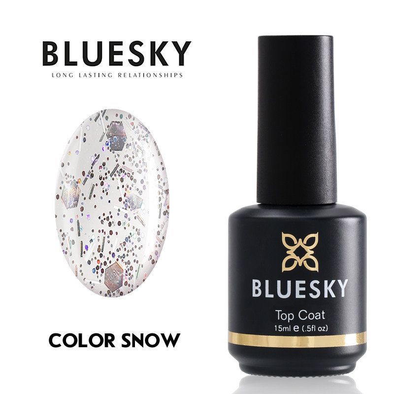 Tоп лак с частици BLUESKY GLITTLER COLOR SNOW NO WIPE TOP COAT 15ml